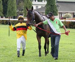 HELLO SAYANG - War Chant filly returns to scale with winning jockey Henry Barnabas
